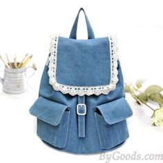Cute Light Navy Blue Denim Color Backpack with Lace Decoration on Front Pocket