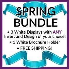 SAVE BIG ON OUR NEWEST BUNDLE AVAILABLE FOR SPRING 2016!Brighten up your vendor display or product display this Spring with our newest Spring Bundle!Pick ANY 3 White Stack Displays of YOUR CHOICE! You can choose solid displays, or displays with different color inserts and even displays with our popular designs! Mix and match! It's up to you! You'll also receive one of our new white brochure holders! Free Shipping is included with this bundle!Stack Displays are lightweight, but are extremely…