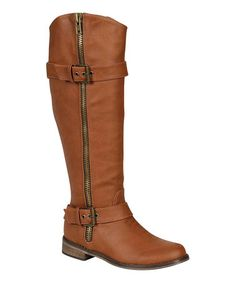 Take a look at this Tan Double Buckle Rider Boot by Breckelle's on #zulily today!