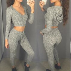 Solid color hooded sports two-piece