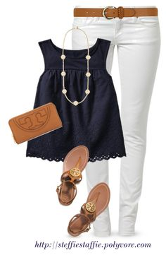 """Gap Eyelet Tank"" by steffiestaffie ❤ liked on Polyvore featuring Mavi, Gap, Tory Burch and Dorothy Perkins"