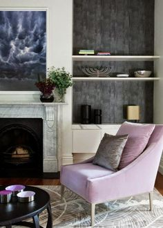textured walls in bookcase purple chair