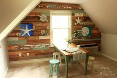Scrap and Pallet Wood Wall in Our Art & Craft Room A focal wall with built in shelves in our bonus room now turned into an art & craft studio for my children and I t...#/649782/scrap-and-pallet-wood-wall-in-our-art-amp-craft-room?&_suid=136184227624005345794556120695