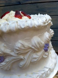 Meringue cake is a pavlova that is dressed up for the ball. It's proper name is a Spanish Wind Torte