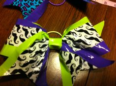 Lime Green/Purple/Mustache Cheer Bow