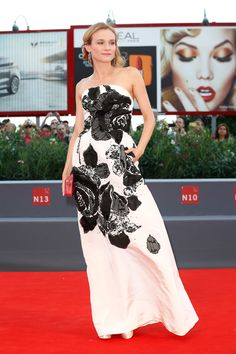 I like the graphic nature.....black and white; the femininity of the rose motif.... Attending the 72nd Venice Film Festival, September 9.   - ELLE.com
