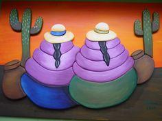 CREACIONES DE SILVIA: Coyitas de ELENA!!!!! Peruvian Women, Peruvian Art, Wooden Painting, Ceramic Painting, Mosaic Tile Art, Heart Pictures, Mexican Art, Patch Quilt, Acrylic Art