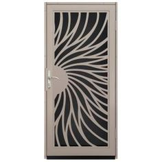 Unique Home Designs 36 In X 80 Solstice Tan Surface Mount Steel Security Door With Black Perforated Screen And Nickel Hardware