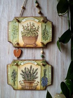 Menthe and rosemary herbs Decoupage Vintage, Decoupage Art, Tole Painting, Painting On Wood, Diy And Crafts, Arts And Crafts, Diy Y Manualidades, Decoration Bedroom, Creation Deco