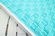 Crochet Basket Weave Baby Blanket. Free pattern from B.hooked Crochet.