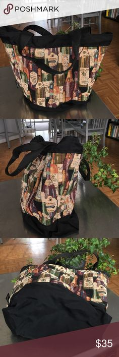 Wine Bottle Tapestry/ Nylon Tote/ EUC EUC/ embroidered look wine bottles on a Nylon bag/ Made in the USA/ lovely design / easy to clean top zipper closure/ interior zippered pocket / Wine any time! MELO Bags Totes