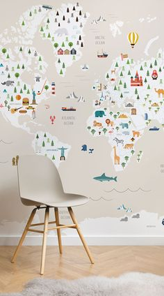 The Cream Ultimate Kids Map Wall Mural is a fun and charming mural for your little one's bedroom or nursery and is educa Boy Toddler Bedroom, Big Boy Bedrooms, Kids Bedroom, Child Room, World Map Wallpaper, Boys Wallpaper, Wallpaper Murals, Children Wallpaper, Kid Spaces