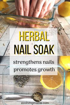 Strengthen nails naturally with an herbal DIY nail soak recipe. This easy at home nail treatment is the perfect first step for your DIY manicure, and will help your nails grow longer fast! You can use herbs or essential oils and it works to repair dry, damaged or brittle nails.