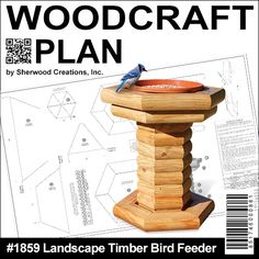 """Landscape Timber Bird Feeder DIY Woodcraft Pattern #1859 - The materials are inexpensive. The plan is precise and guaranteed. You can make it in a weekend. It's a great seller at craft shows. What's stopping you? Get going! 26""""H x 21""""W x 21""""D.  Pattern by Sherwood Creations #woodworking #woodcrafts #pattern #yardart #craft #landscape #planter"""