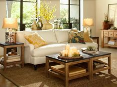 Pottery Barn furniture - love that coffee table!