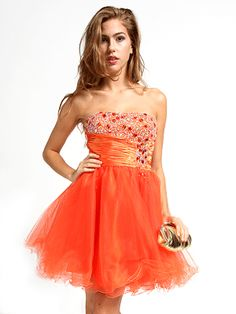 Jewel Accented Bodice w/Tool Skirt Dress Prom Dresses Under 100, Cheap Party Dresses, Homecoming Dresses, Short Dresses, Girls Dresses, Formal Dresses, Tulle Skirt Dress, Dress Skirt, Orange Dress