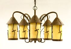 Five Leg Chandelier w/Stone Shade Candle Sconces, Wall Lights, Chandelier, Iron, Shades, Candles, Lighting, Home Decor, Appliques
