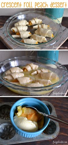 Easy crescent roll peach dessert -- roll peaches up in crescent rolls and top with sugar, butter, vanilla and MT. DEW! Bake and EAT!!
