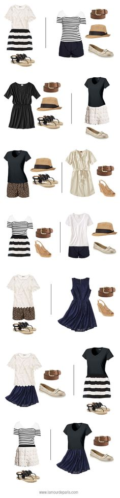 How to pack for a vacation in a carry-on suitcase: Summer collection // Style a striped skirt in different ways / Capsule wardrobe edit challenge ideas outfit inspiration minimalist style for a curated closet Summer Outfits, Casual Outfits, Summer Dresses, White Outfits, Summer Clothes, Easy Outfits, Matching Outfits, Mode Outfits, Mode Inspiration