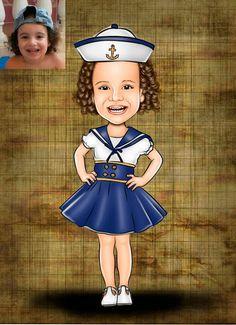 Caricaturas digitais, desenhos animados, ilustração, caricatura realista: Desenho de marinheira !!