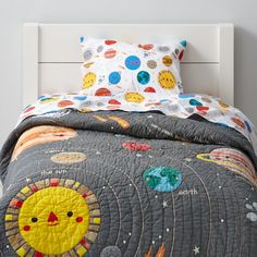 "Our Deep Space Toddler Bedding might not be the center of the universe. But it can be the center of your toddler's room. The cheerful, printed planets and stars designed by artist Michelle Romo give it out-of-this-world charm and its 100% cotton construction out-of-this-world comfort.<br><br>Moving from a crib to a toddler bed? Shop our collection of <a href=""http://www.landofnod.com/toddler-beds/kids-furniture/1"" title=""toddler beds"">toddler beds</a>.<br><br><NEWTAG/><h2>Details…"