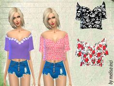 The Sims Resource: Sleeves Flutter Cropped Top by Melisa_Inci � Sims 4 Downloads