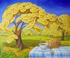 Lemon Garden And Tea With Cookies by Vitaly Urzhumov, Russian surrealist