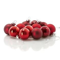 Mini Glass Baubles Twelve Pack Red