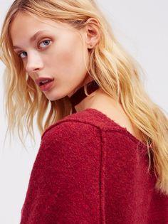 FP Irresistible Oversized V-Neck Fringe-Trim Pullover Sweater (Wine)