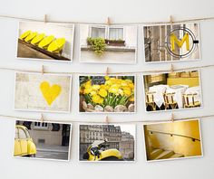 Postcard Set, Paris - Yellow Paris Photo - French Art Prints - Art Postcards --- Paris Photography