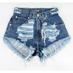 Navy Ripped Missdenim Shorts Highwaisted Cutoffs Studded Ripped Frayed ($50) ❤ liked on Polyvore