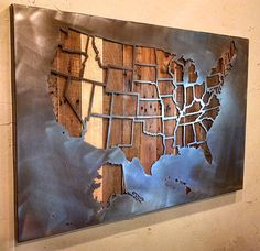 Large United States Map with State Borders - All 50 States - - Metal Art - Reclaimed Wood and Aged Steel - by Legendary Fine Art by LegendaryFineArt on Etsy Metal Tree Wall Art, Metal Art, Cnc Plasma Cutter, Plasma Cutting, Plasma Table, Plasma Torch, Metal Design, Design Design, 3d Cnc