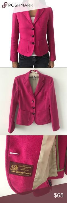 "J. Crew Scottish Wool Robert Noble Blazer Pink Hot pink Scottish Wool Blazer by J. Crew. Contrast collar and lining; adorable buttons; cute inner pocket.  Size 2.  17"" pit to pit.  23"" length.  15"" shoulder (seam to seam; from back).   Well cared-for item in excellent condition. No visible flaws. J. Crew Jackets & Coats Blazers"