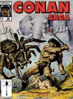 Conan Saga #36 - The Haunters of Castle Crimson; Heritage of Horror; A Bargain Betwixt Devils; The Testing of Zuleika; A Falling-Out Among Thieves; The Foe Within; Swords and Skulls; A Night of Bones (Issue) Earl Norem cover