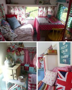I adore how girly this caravan is decorated. Bonus points for the Keep Calm and Carry On poster, floral accents and union jack accessories.