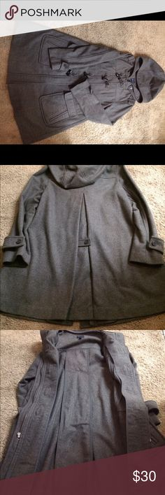 GAP Maternity Coat This maternity coat is a lovely gray color with a hood. There is a long pleat in the back for a flattering fit. There is a zipper closure as well as buttons up the front. Super cute! GAP Jackets & Coats