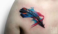 Feather tattoos by Szymon Gdowicz - Pain Ting