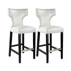 Kings Studded Bonded Leather  Barstool ($310) ❤ liked on Polyvore featuring home, furniture, stools, barstools, white, colored bar stools, high back bar stools, white furniture, white counter height stools and white barstools