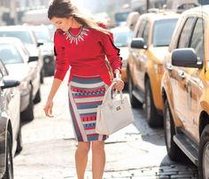 Choose the Perfect Pencil Skirt for Your Body! Trim Legs: Bold diagonal lines on the sides shave off inches. #SelfMagazine