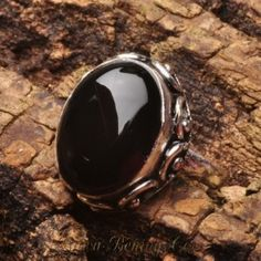 Natural Black Onyx Ring 8US