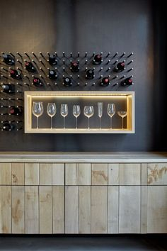 View the full picture gallery of Wine Glass Shop Riedel Home Wine Bar, Home Wine Cellars, Wine Rack Design, Wine Cellar Design, Wine Shelves, Glass Shelves, Modern Home Bar, Home Bar Designs, Wine Wall