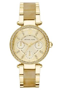 MICHAEL Michael Kors Michael Kors 'Mini Parker' Crystal Bezel Bracelet Watch, 33mm available at #Nordstrom