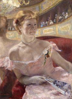 Woman with a Pearl Necklace in a Loge Dans la Loge  Mary Stevenson Cassatt, American, 1844 - 1926  Date: 1879