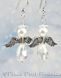 Get in the holiday spirit with these irresistible Crystal Angel earrings. The body is made sparkling Crystal teardrops (13x6mm), White