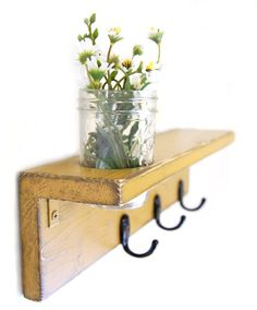 Wood Wall Shelf Vase Hooks - Mustard Yellow Autumn Fall