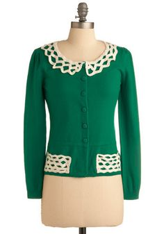 Green cardigan from #modcloth. If I only I could convert UK sizes in my head...