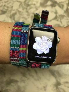 """Thanks for the kind words! ★★★★★ """"Comfortable and fashionable. Makes me not hate wearing my apple watch. Absolutely love it!"""" Nellie W. Apple Band, Apple Watch Bands, Apple Watch Iphone, Apple Watch Series 2, Cool Watches, Woven Cotton, Green, Blue, Cases"""