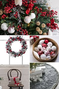 Silver, white and red accents showcase the beauty of a Northern European winter. Country Christmas Decorations, Christmas Tree Themes, Christmas Mood, Christmas Tree Toppers, Rustic Christmas, Xmas Tree, Tree Decorations, Holiday Decor, Large Christmas Baubles