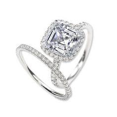 halo set asscher cut diamond engagement ring and band