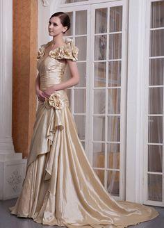 Bernice Noble Taffeta A-Line Chapel Train Off-The-Shoulder Pleats And Flower #Evening #Dress